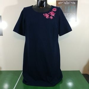 NEW Blue Wool Sheath Dress Floral Embroidery